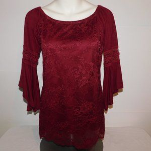 Roommates Maroon Lace Bell Sleeve Top